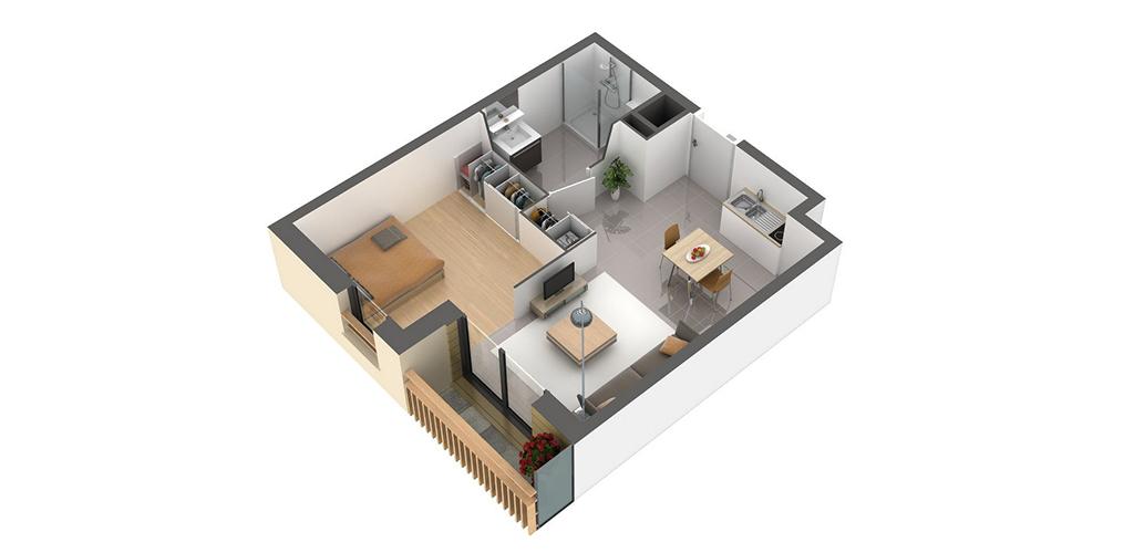 Résidence Premium - Vue d'un appartement T1 bis