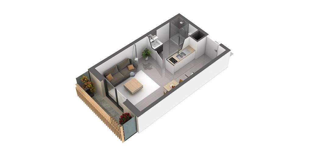 Résidence Premium - Vue d'un appartement T1