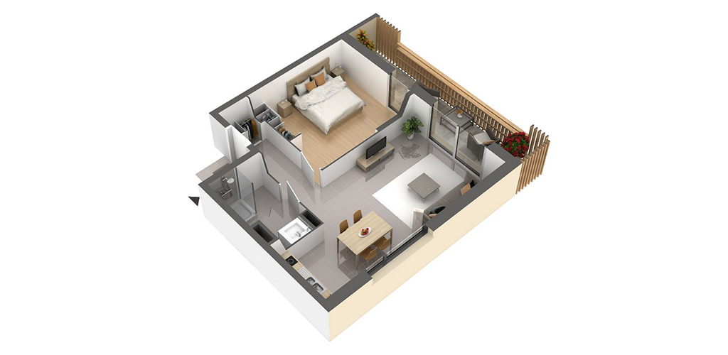 Résidence Carré Lumière - Vue d'un appartement T2
